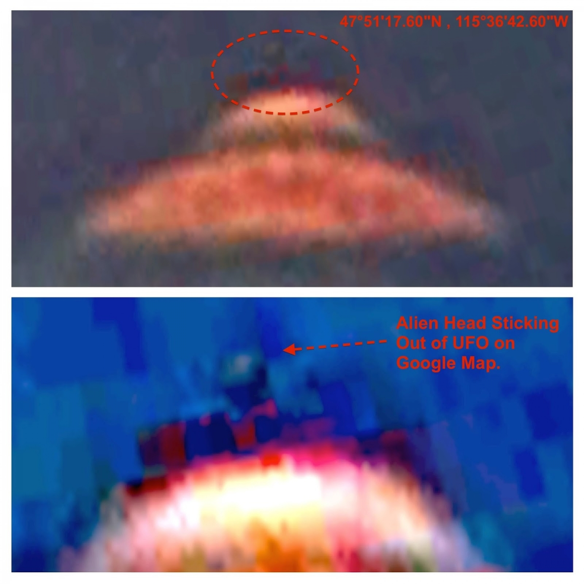 UFO with 'Actual' Alien Captured by Google Earth Map?