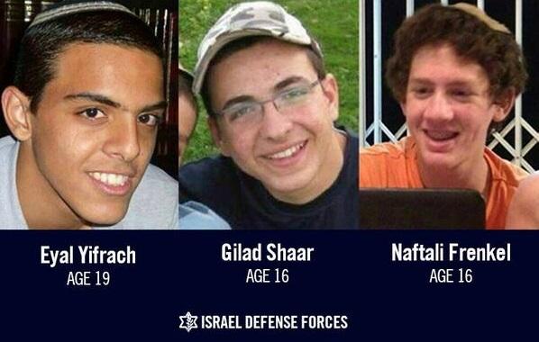 Missing Israeli teenagers Naftali Frenkel, Gilad Shaar and Eyal Yifrach