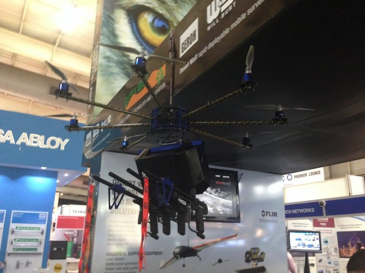 The Desert Wolf Skunk octocopter at the IFSEC International trade show in London . (Desert Wolf)