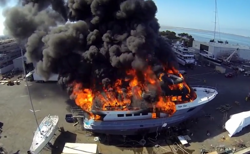 Polar Bear yacht worth $24m went up in flames in Chula Vista Marina in California, in footage captured by a drone