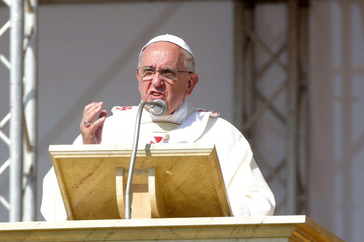 Pope Francis addresses the crowd at an outdoot Mass in Piana di Sibari, Calabria Getty