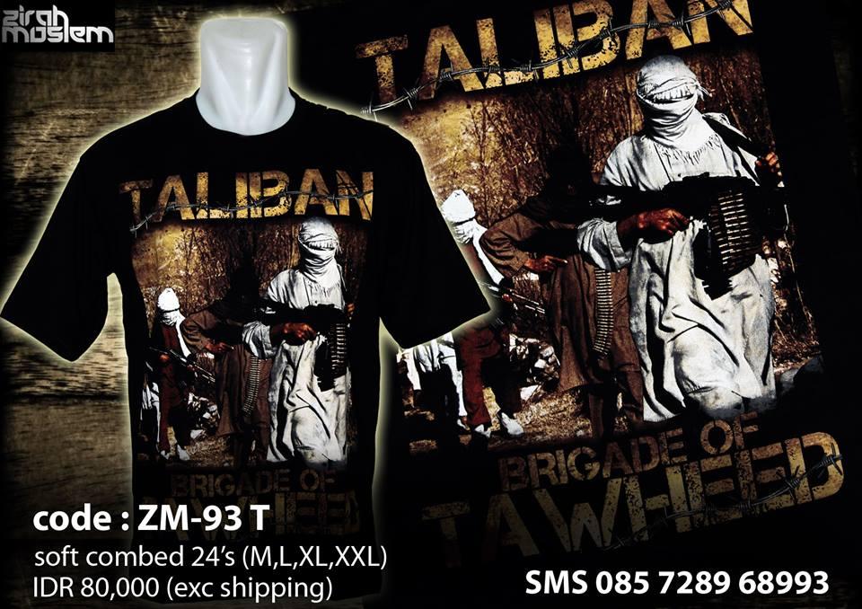 Taliban t-shirt for sale on the Zirah Moslem facebook page. (Facebook)