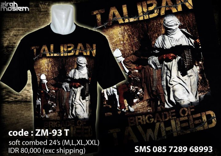 Taliban t-shirt for sale on the Zirah Moslem facebook page. (Facebook)