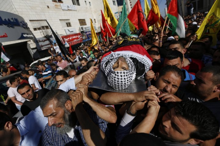 Mourners carry the body of Palestinian Mohammed Attallah during his funeral in the West Bank city of Ramallah