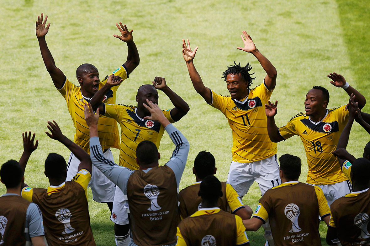 world cup goal celebration colombia