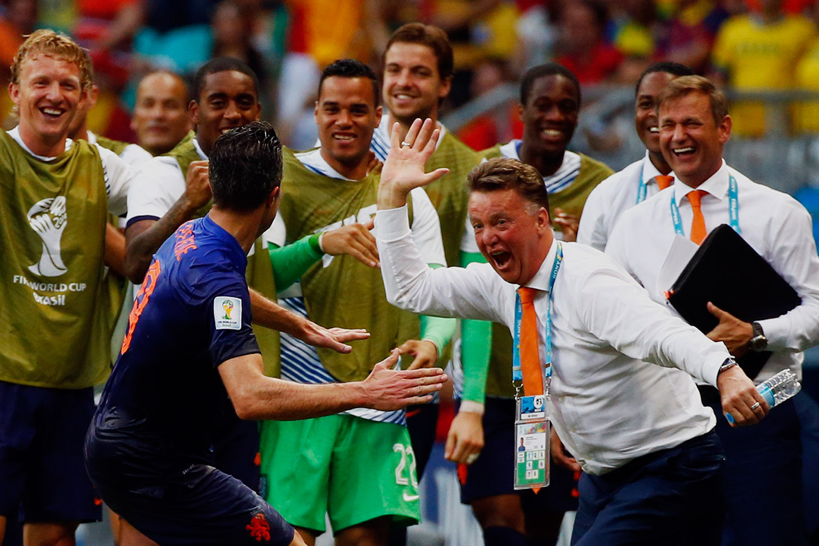 world cup goal celebration van persie