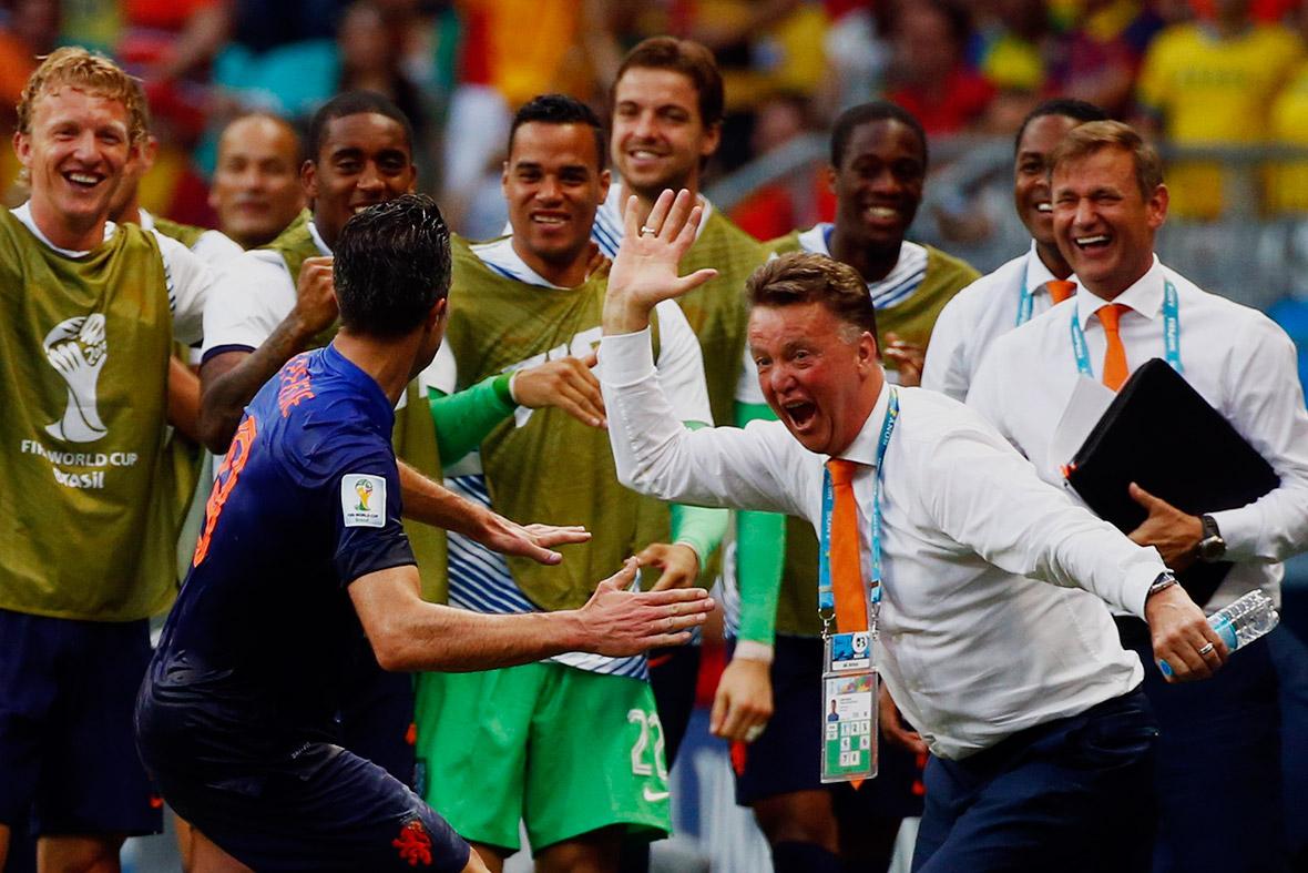 world cup goal celebration van persie