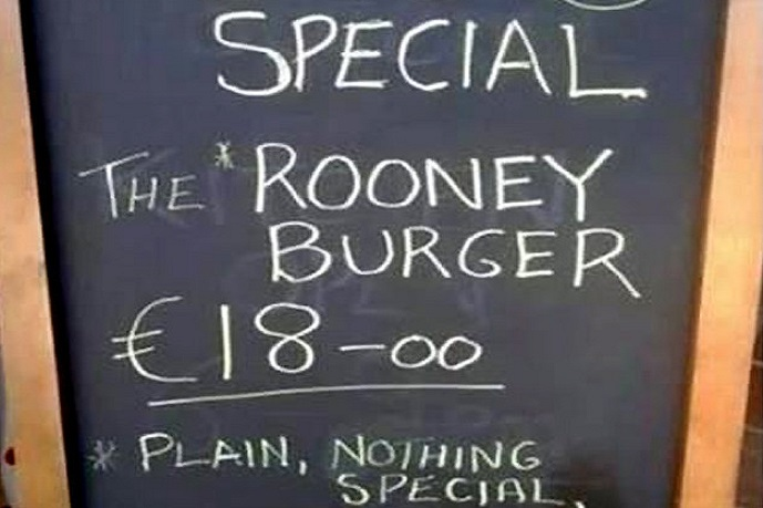 The Rooney burger of Chicken Lodge in Manchester promises to be 'plain' and 'overpriced'