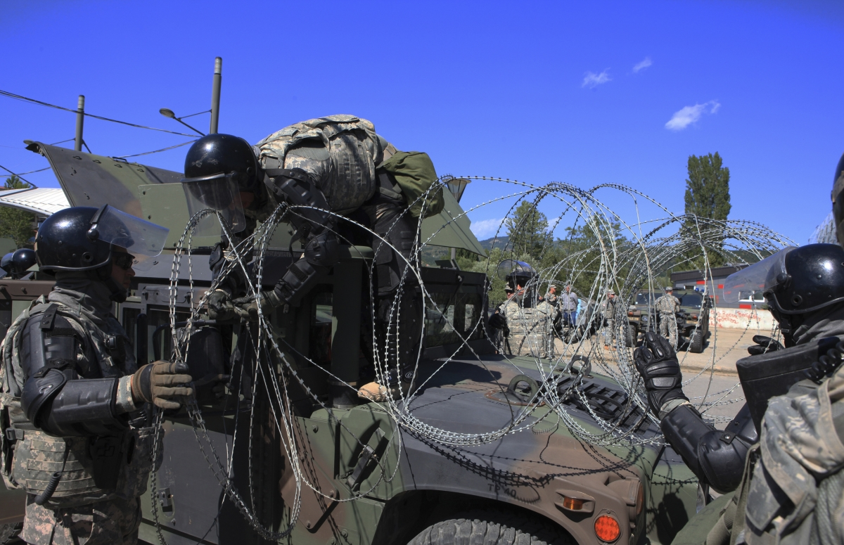 Nato Peacekeepers US Kosovo Mitrovica Bridge Clashes