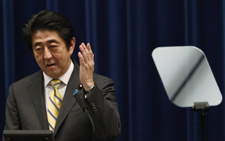 Japan's Prime Minister Shinzo Abe speaks next to a teleprompter during a news conference at his official residence in Tokyo