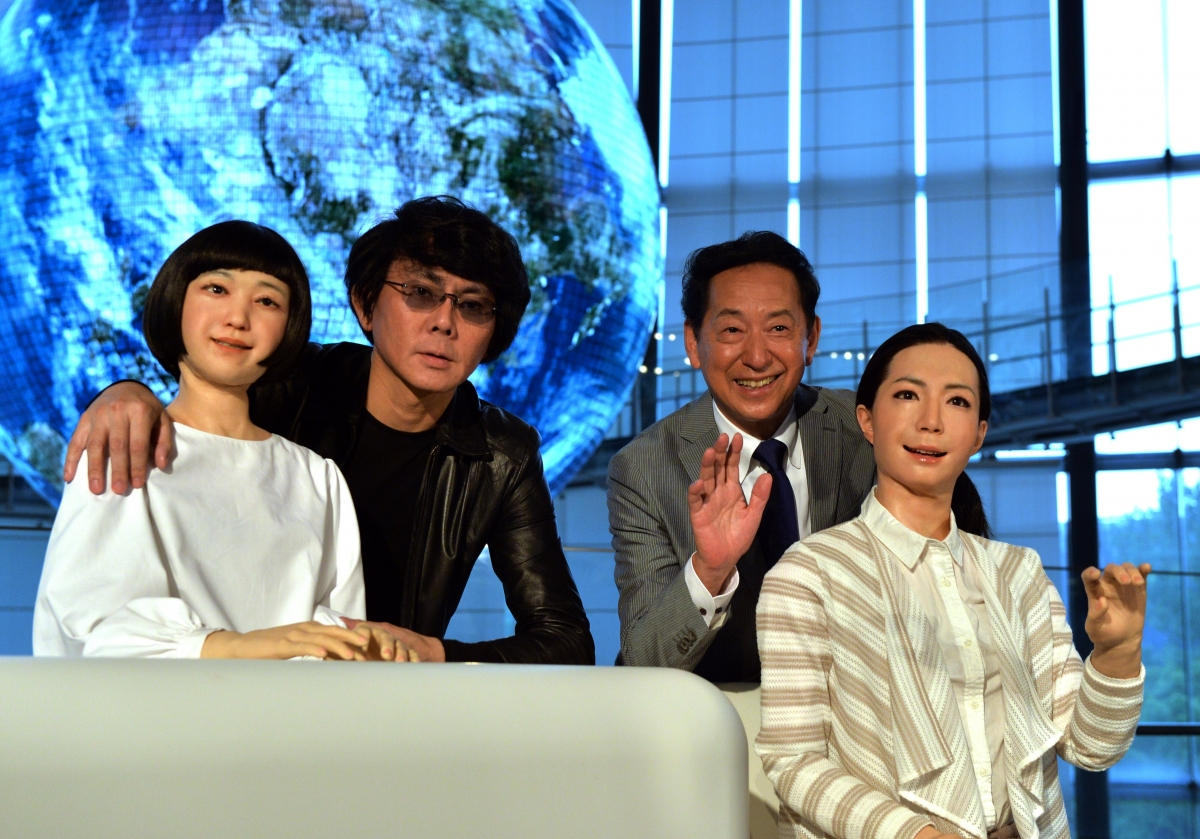 Robotics expert Hiroshi Ishiguro and Miraikan museum director Mamoru Mori