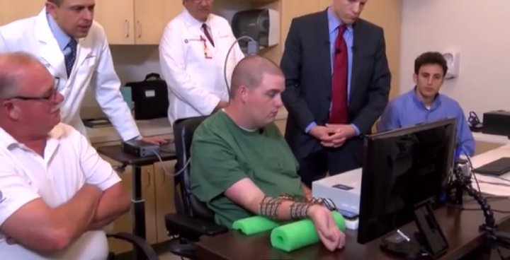Paralysed man moves hand power of thought