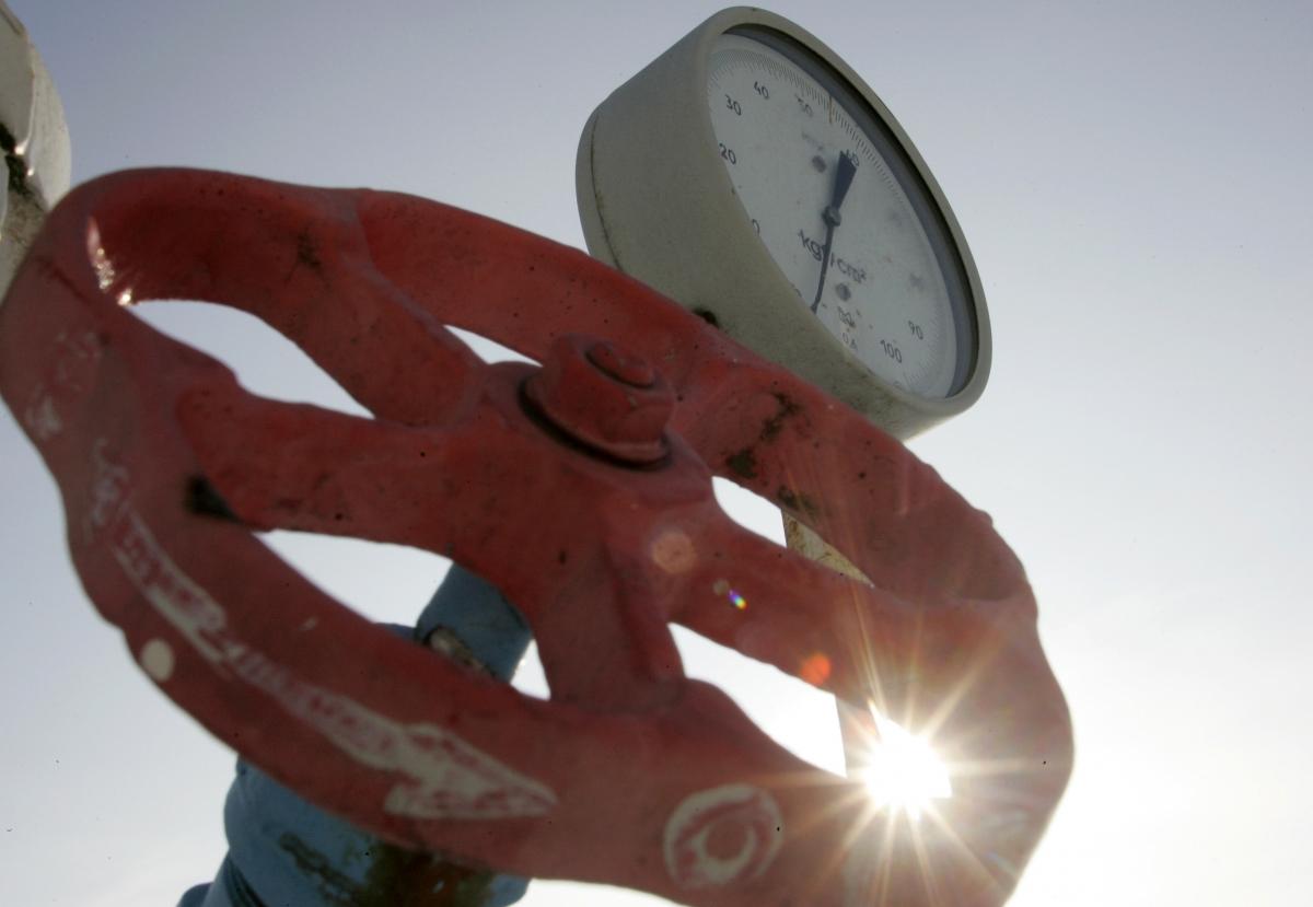 A pressure gauge is pictured at a Ukrainian gas compressor station
