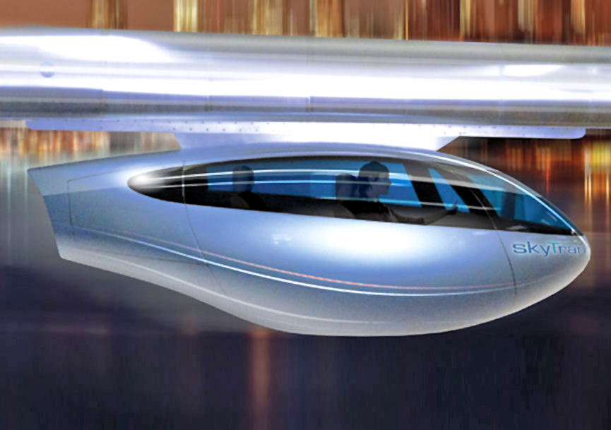 skyTran - a new hover car transport system consisting of two-man vehicles that can travel at high speeds