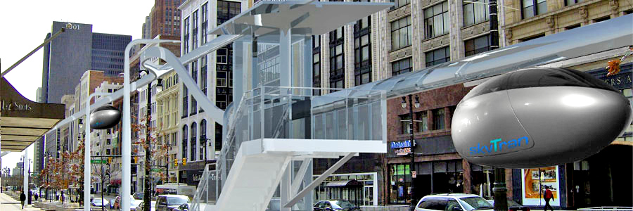 An example of a skyTran station, which is quite small and can be added to residential areas without much disruption