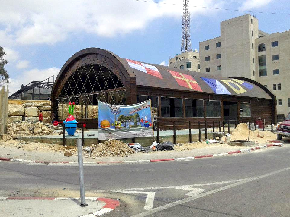 The Krusty Krab, now being constructed on the West Bank in Palestine