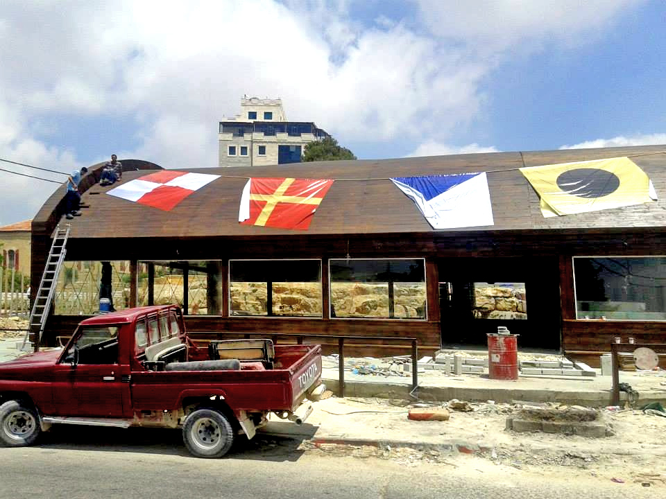 Putting the flags on the Krusty Krab