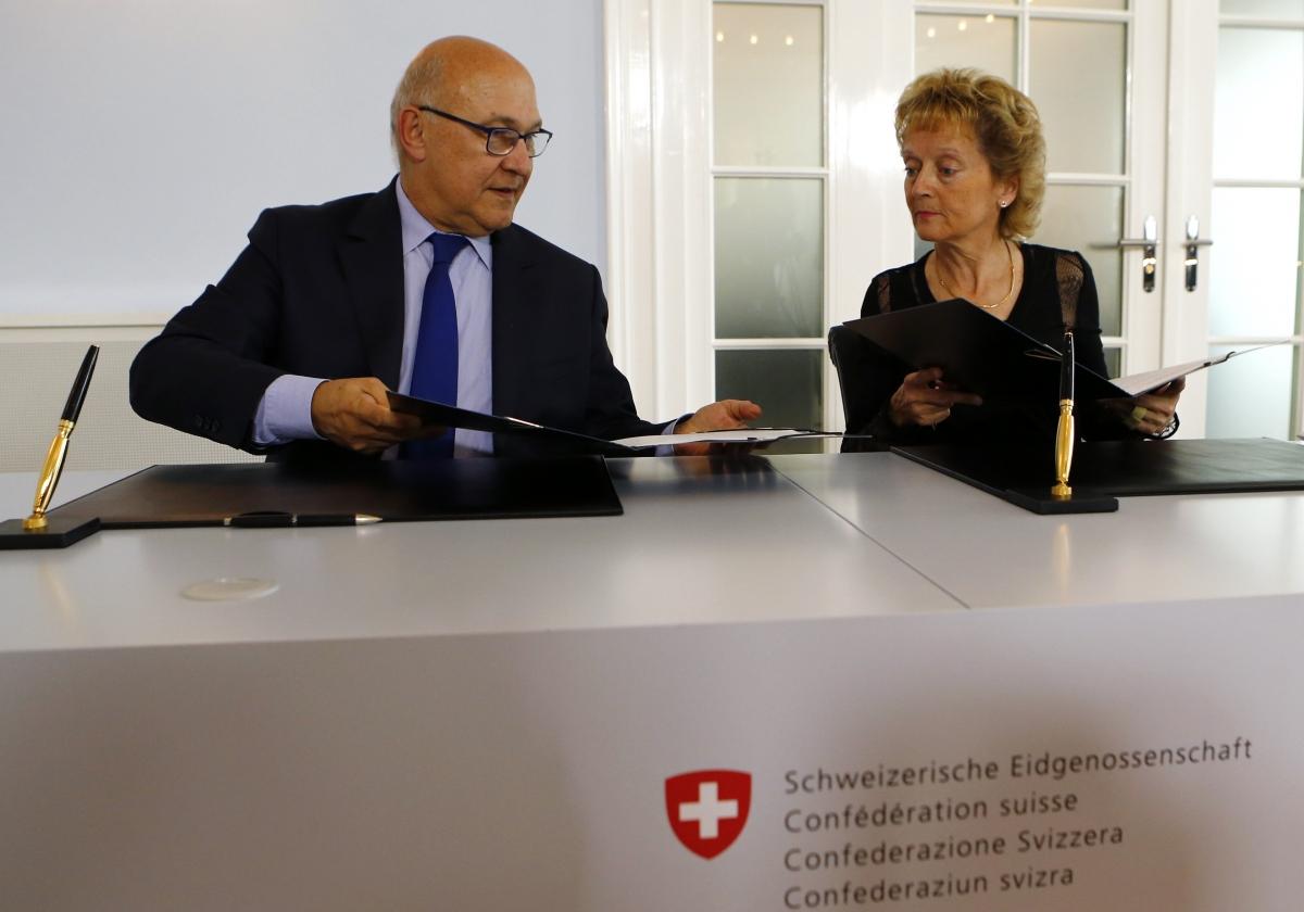 Michel Sapin and Eveline Widmer-Schlumpf