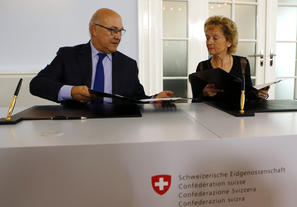 Michel Sapin and Eveline Widmer-Schlumpf