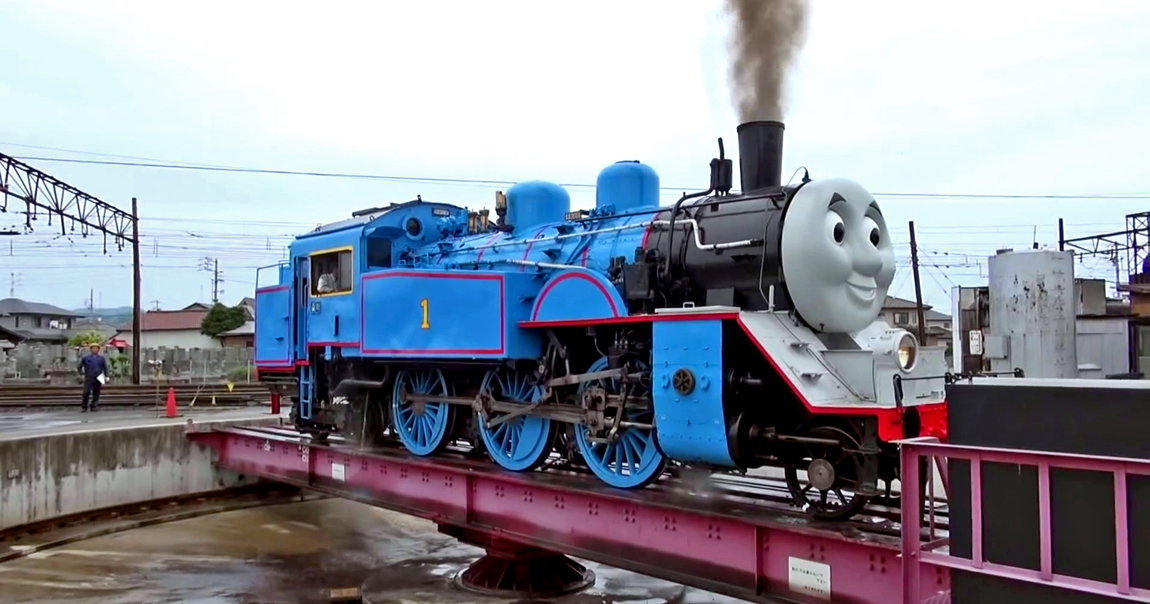 Thomas the Tank Engine on a real, working, railway turntable