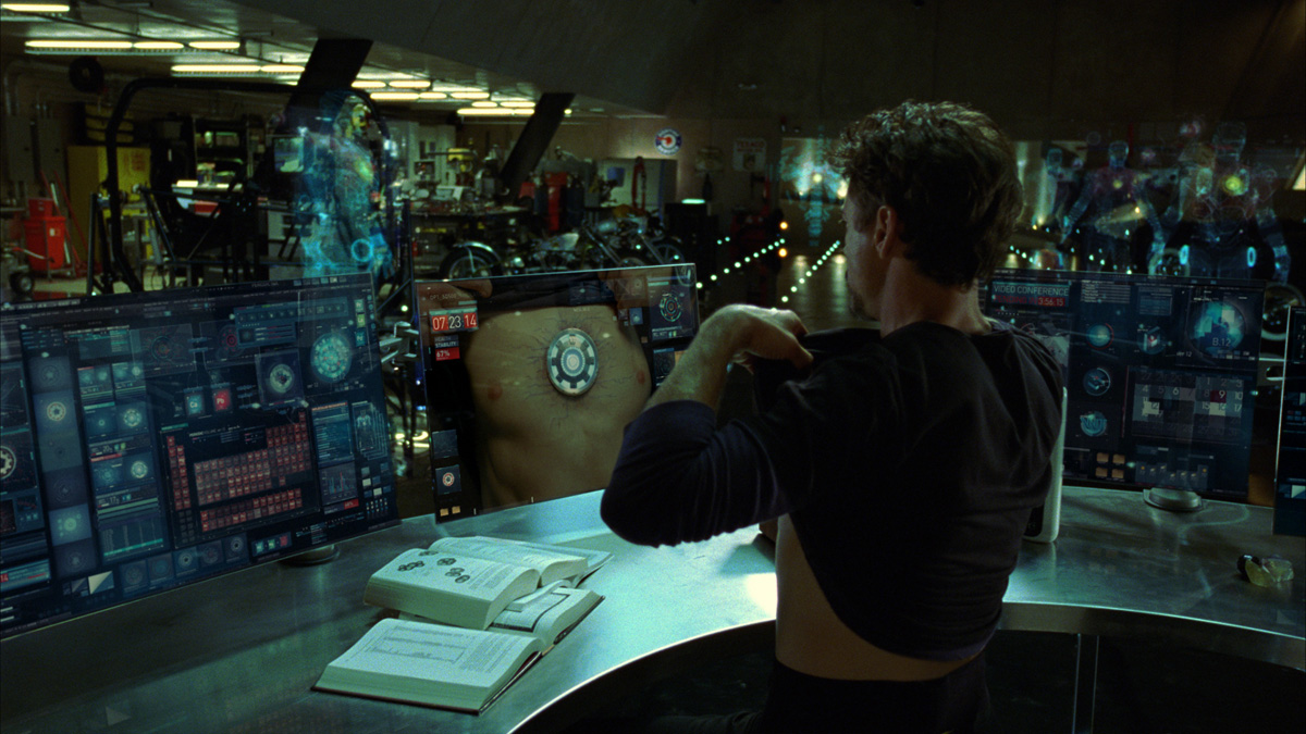 In Iron Man, Tony Stark (played by Robert Downey Jr) discusses all his needs with virtual assistant Jarvis