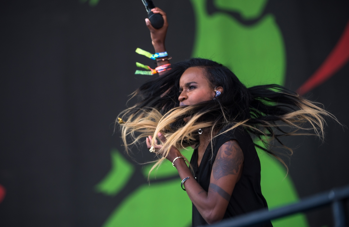 US rapper Angel Haze performs on the pyramid Stage