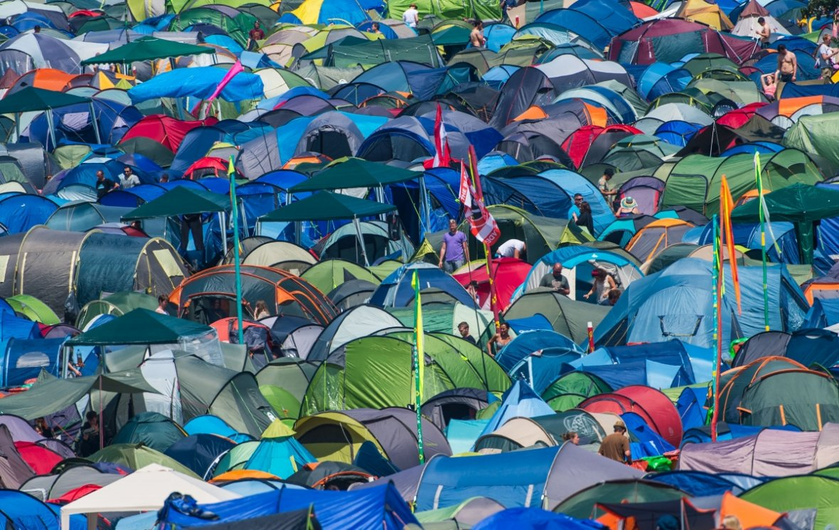 A sea of multi-coloured tents pitched at the festival