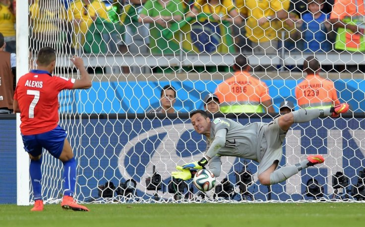 Julio Cesar Brazil saves penalty Alexis Sanchez Chile