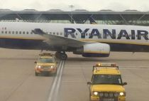 Collision caused severe damage to the wing tip of one of the Ryanair planes.