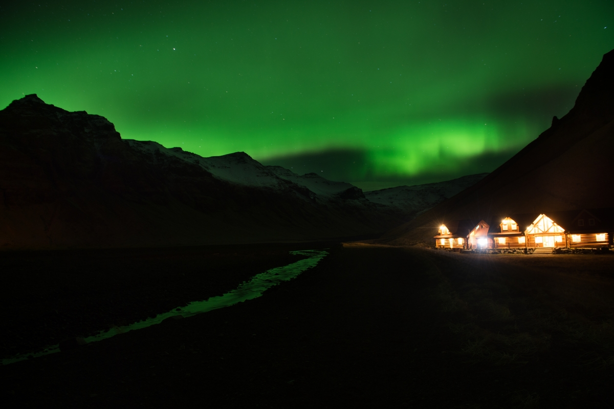 1. Northern Lights or aurora borealis near the village of Vik, in southern Iceland