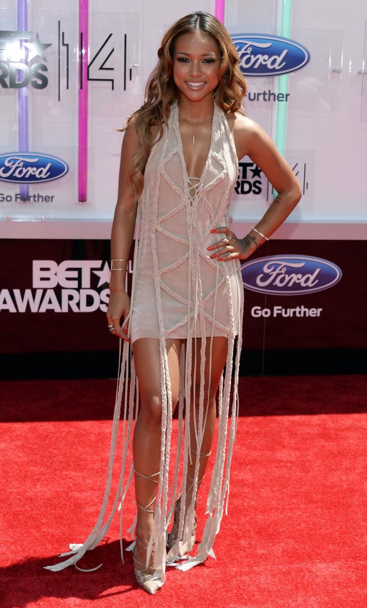 Karrueche Tran arrives at the 2014 BET Awards in Los Angeles, California June 29, 2014.