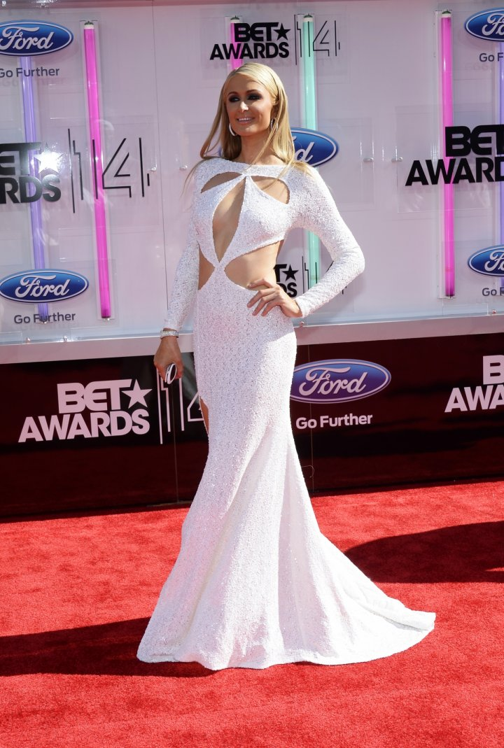 Paris Hilton arrives at the 2014 BET Awards in Los Angeles, California June 29, 2014.