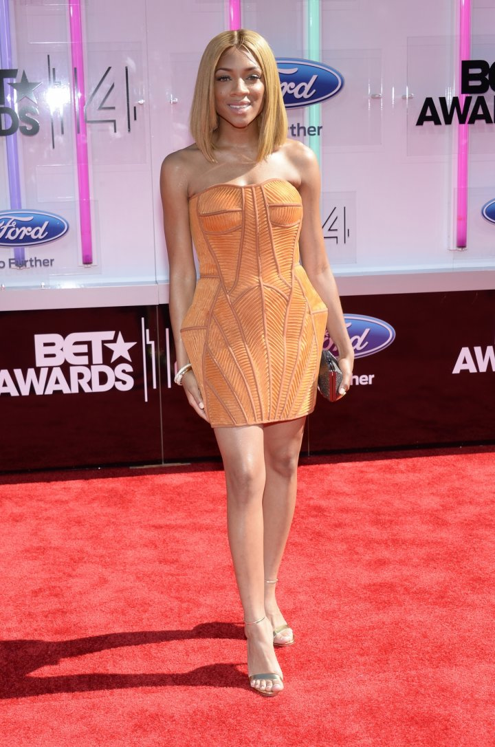 Lil Mama arrives at the 2014 BET Awards in Los Angeles, California June 29, 2014.