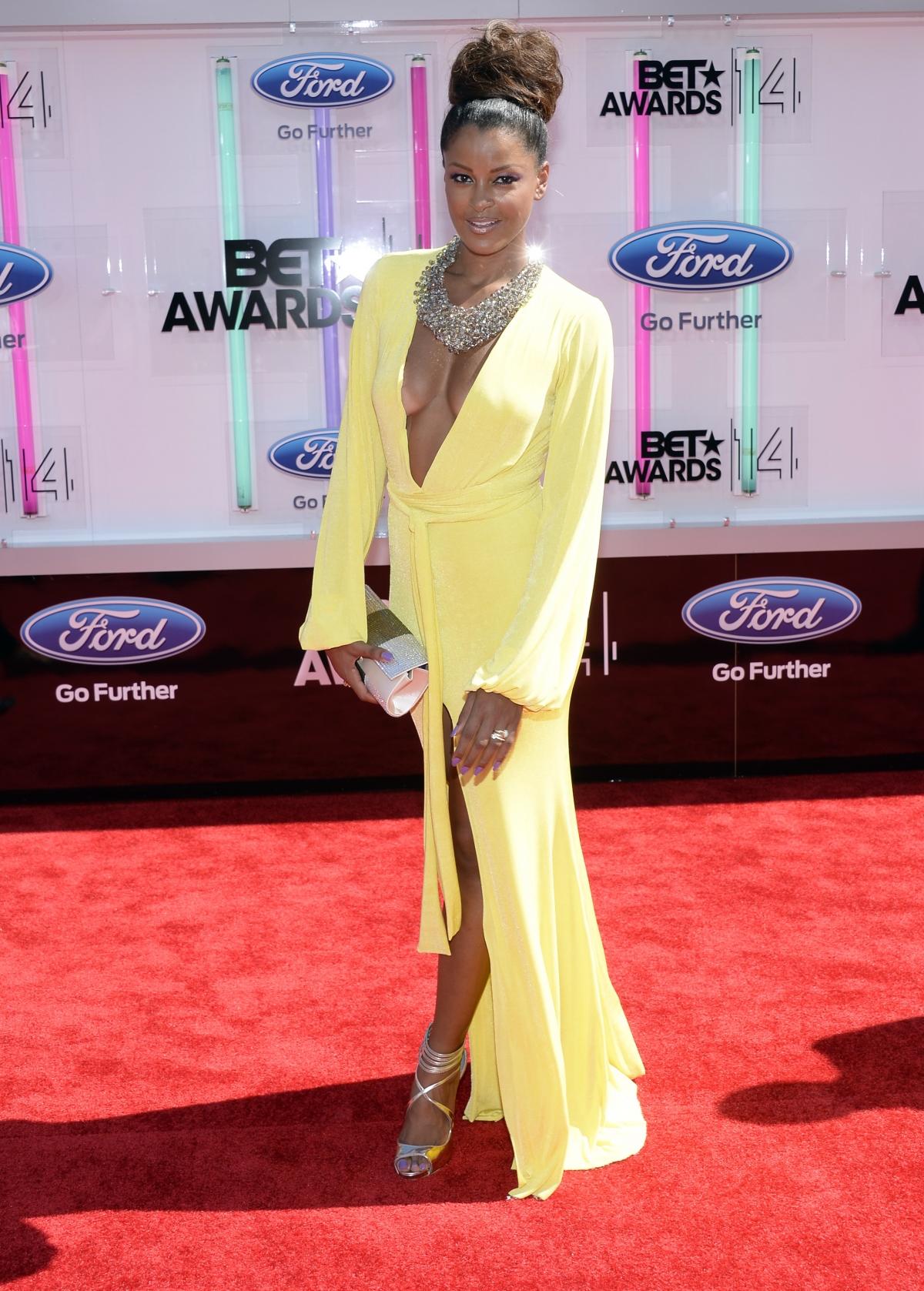 Claudia Jordan arrives at the 2014 BET Awards in Los Angeles, California June 29, 2014.