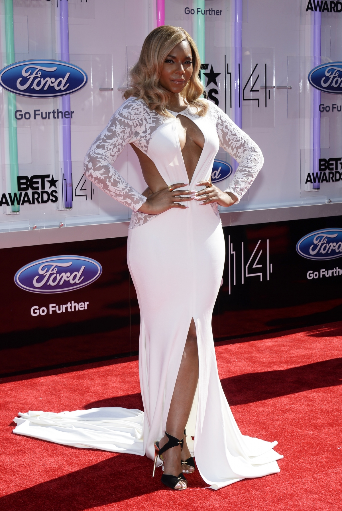 Ashanti arrives at the 2014 BET Awards in Los Angeles, California.