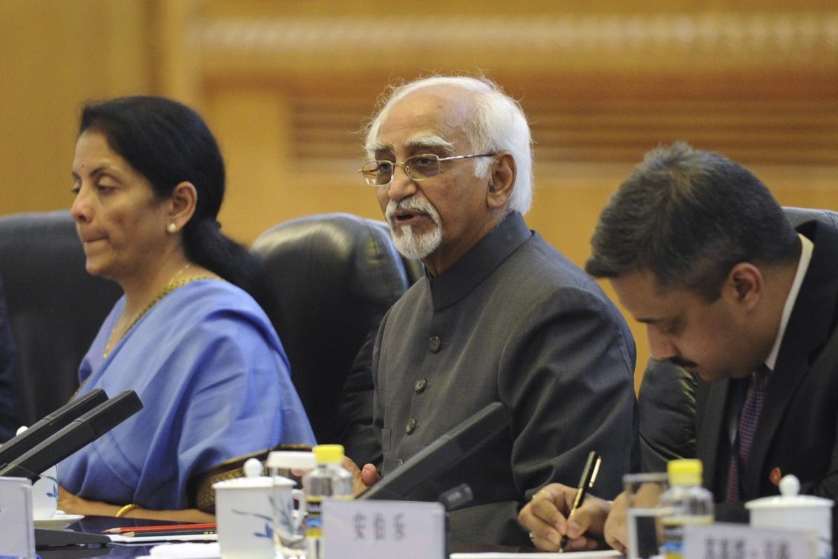 India's Vice President Shri Mohammad Hamid Ansari (C)
