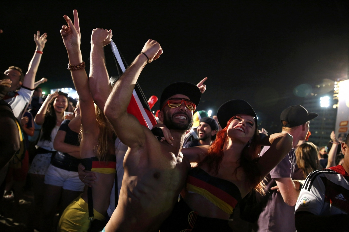 Germany Fans Celebrate after 2-1 Algeria Victory