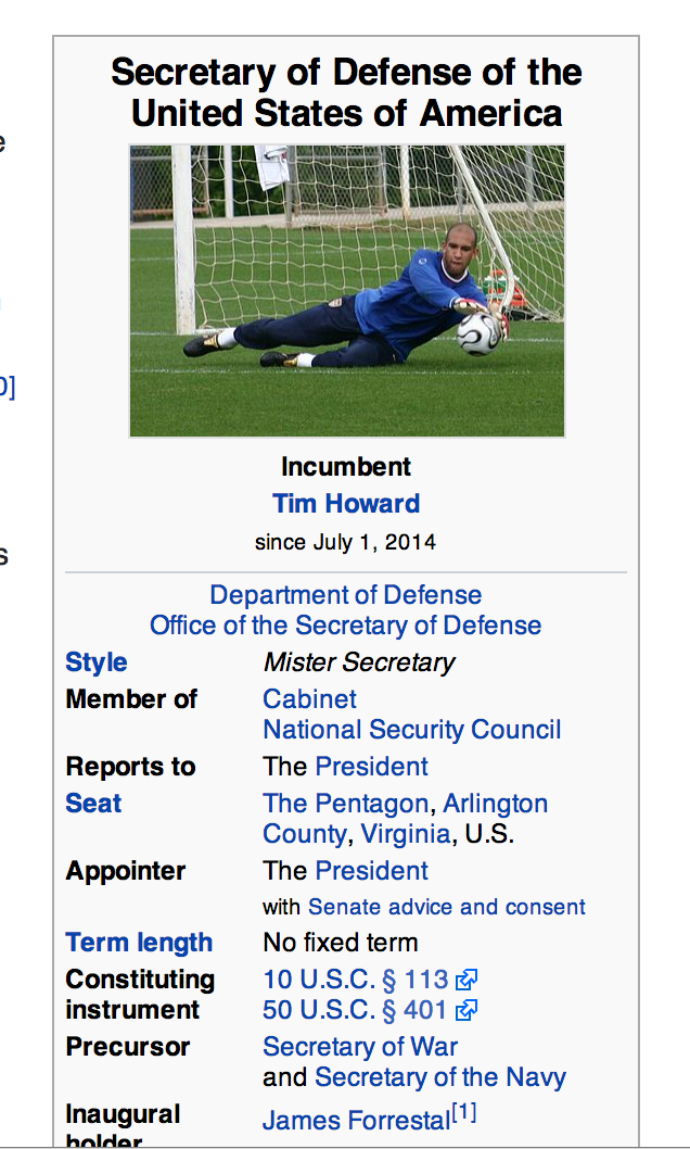 Tim Howard Become US Secretary of Defence