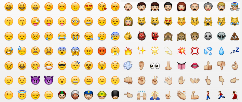 Emoji - Japanese emoticons that are used to hold entire conversations over chat, without words