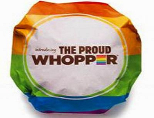 The gay burger is called the Proud Whopper by Burger King