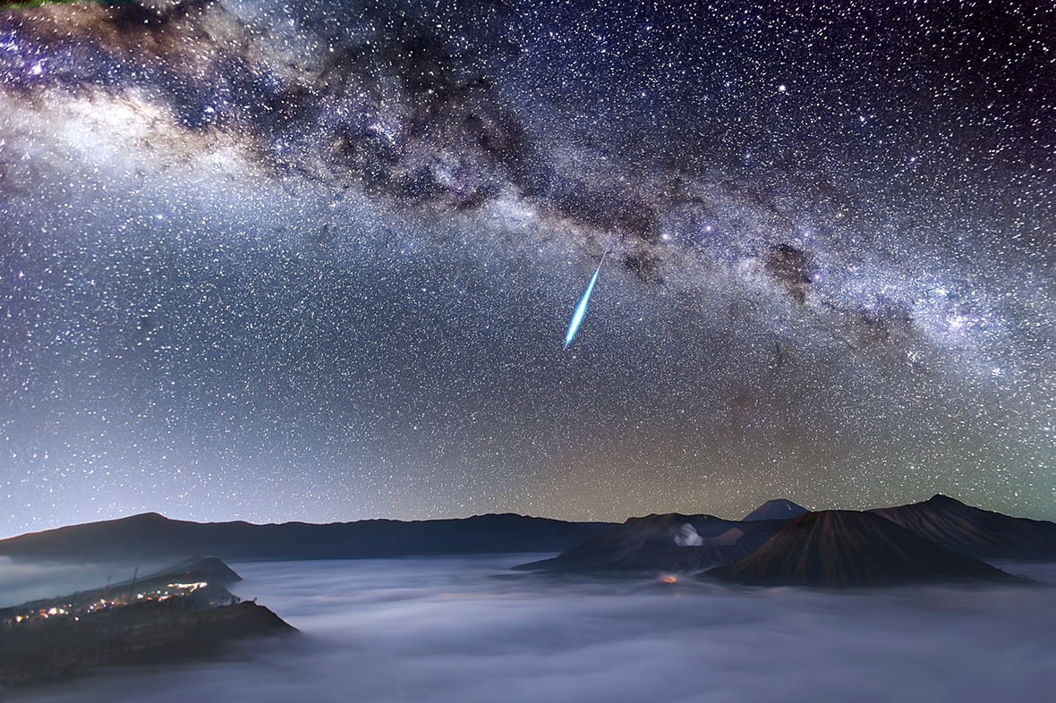 Eta Aquarid Meteor Shower over Mount Bromo