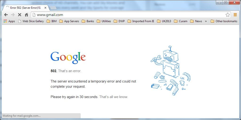 Gmail is Down in UK and France