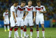 Germany\'s Mesut Ozil, Toni Kroos, Bastian Schweinsteiger and Thomas Mueller