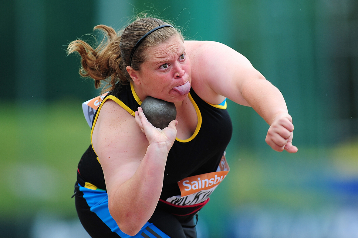 Sophie McKinna competes in the Womens Shot Put Final during day two of the Sainsburys British Championships at Birmingham Alexander Stadium