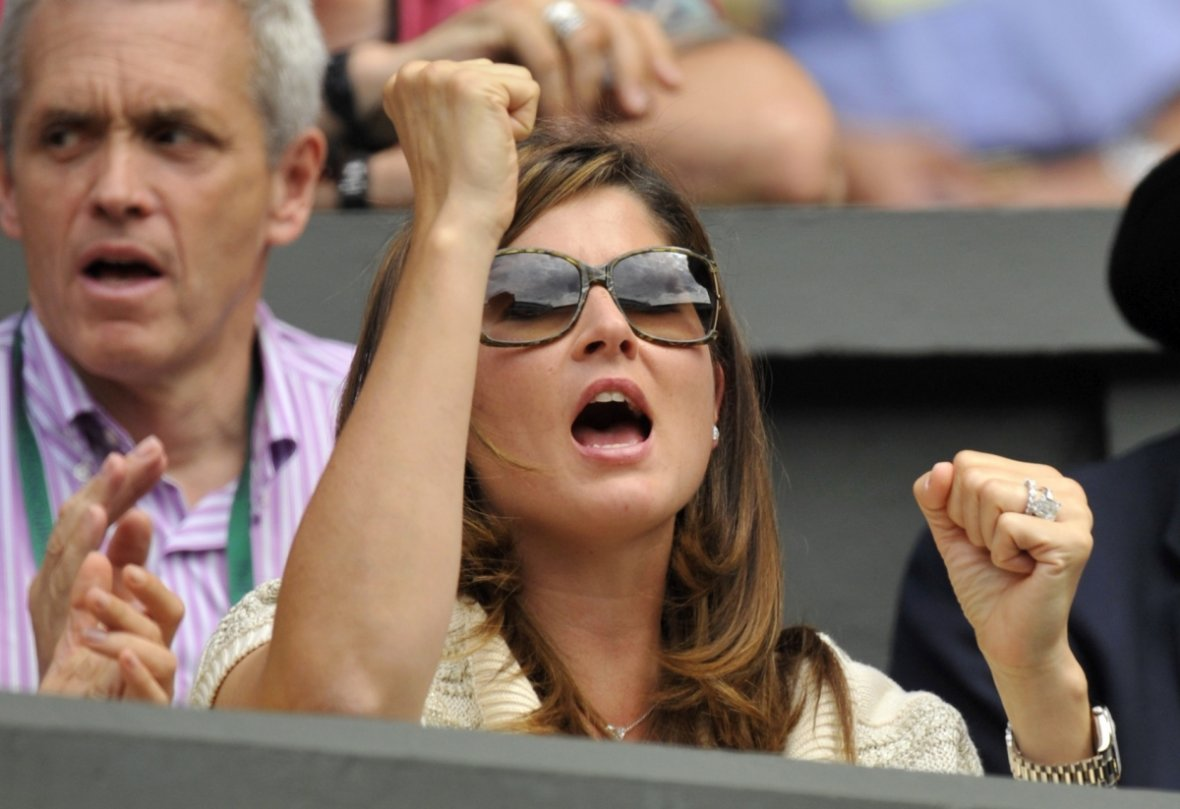 Mirka Vavrinec, reacts on Centre Court during the match between her husband and Colombia's Alejandro Falla