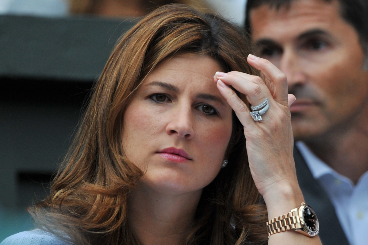 Mirka Federer, watches her husband Switzerland's Roger Federer Wimbledon match against Luxembourg's Gilles Muller