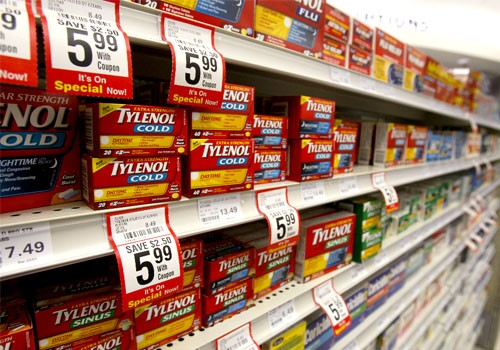 Boxes of Tylenol cold medication are seen in a pharmacy in Toronto, Canada