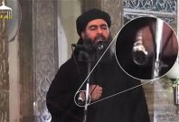 Footage of al-Baghdadi\'s Friday speech, in which he appears to be wearing a Rolex. (Twitter)