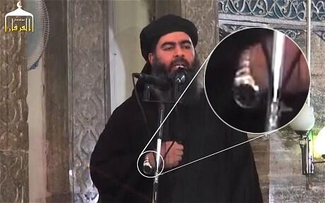 Footage of al-Baghdadi's Friday speech, in which he appears to be wearing a Rolex. (Twitter)