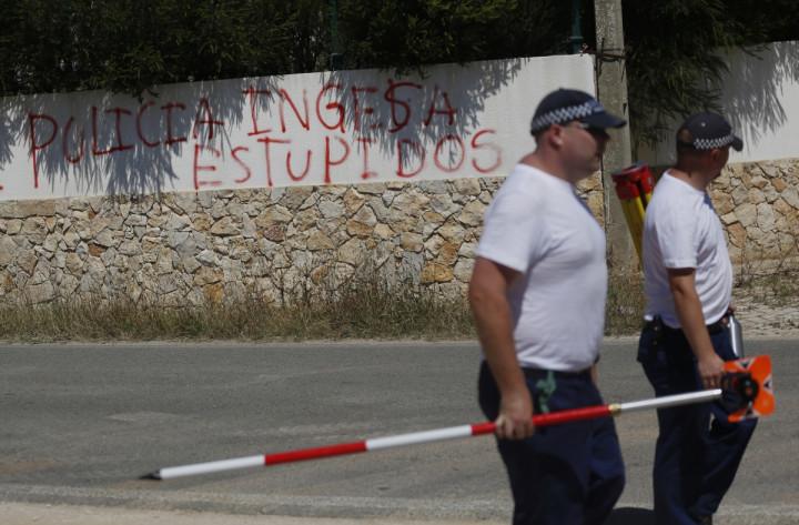 Praia da Luz locals have daubed graffiti against police searching for Madeleine McCann